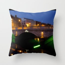 Dublin's River Liffey By Night Throw Pillow
