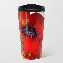 Decorative Red-Gold Monarch Butterflies Red Popppy Travel Mug