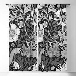Black and White Floral Pattern Blackout Curtain