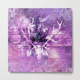 Ultra Violet Boho Skull and Antlers Metal Print
