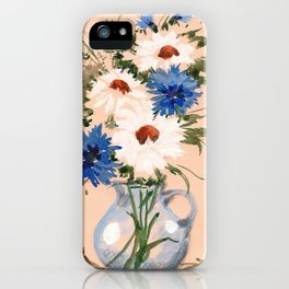 Watercolor Meadow Flowers. Bouquet. Cornflowers and Daisies iPhone Case