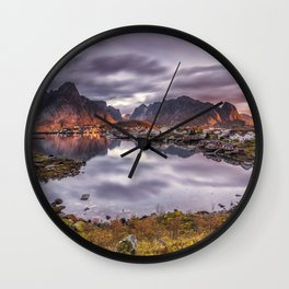 Lofoten Norway Reine mountain sunrise and sunset Bay Houses Cities Mountains Sunrises and sunsets Building Wall Clock