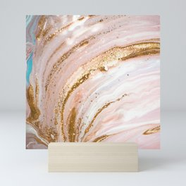 Blush Pink And Gold Liquid Color  Mini Art Print