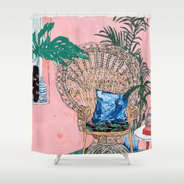 Peacock Chair in Pink Jungle Interior Shower Curtain
