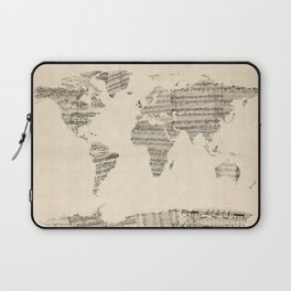 Old Sheet Music World Map Laptop Sleeve
