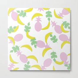 Tropical Pattern // Yellow Pink Green Palette Metal Print