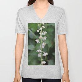White flower Pyrola rotundifolia Unisex V-Neck