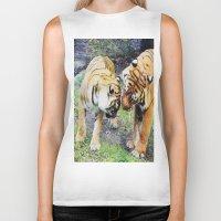 tigers Biker Tanks featuring Tigers by Irene Jaramillo