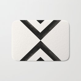 Converging Triangles Black and White Moroccan Tile Pattern Bath Mat