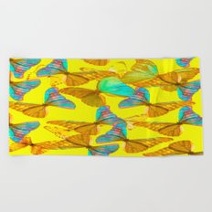 Butterflies - turquoise wings - yellow background #Society6 #buyart Beach Towel