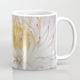 Yellow on White Minimalist Clematis Flower Coffee Mug
