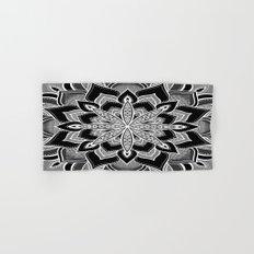 Mandala: Black Gray White Flower Hand & Bath Towel