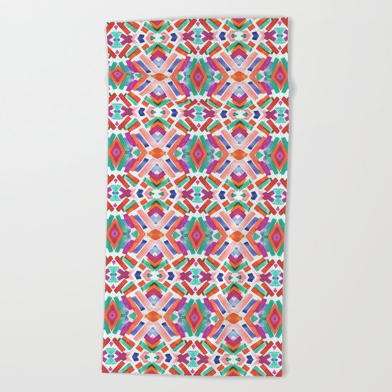 Watercolor Boho Dash 3 Beach Towel