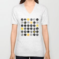 Dots / Yellow & Black Unisex V-Neck