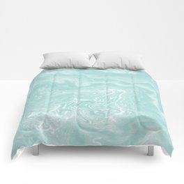 Moki - pastel mint spilled ink japanese watercolor paper marbling marble trendy abstract painting  Comforters