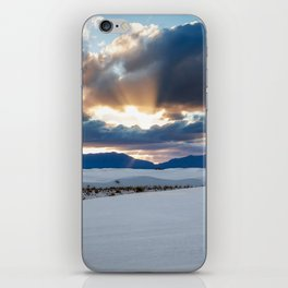 One More Moment - Sunbeams Burst From Clouds Over White Sands New Mexico iPhone Skin