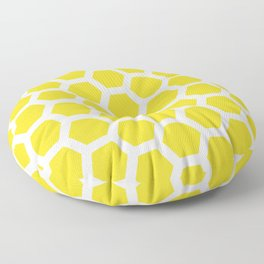 Yellow And White Funky Honeycomb Geometric Pattern Floor Pillow