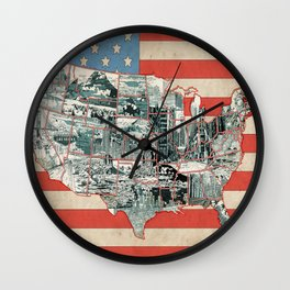 usa map urban city collage Wall Clock