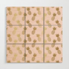 Pink & Gold Pineapples Wood Wall Art
