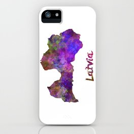 Latvia in watercolor iPhone Case