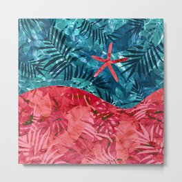 Summer Beach Tropical Pattern Metal Print