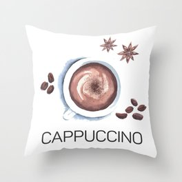 Cappuccino in Watercolor Throw Pillow