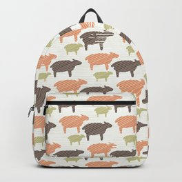 Pink Brown and Green Natural Color Sheep Backpack