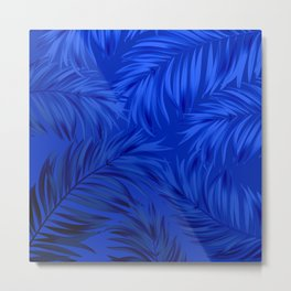 Palm Tree Fronds Brilliant Blue on Blue Hawaii Tropical Décor Metal Print