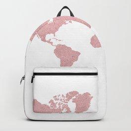 ROSE GOLD GLITTER WORLD MAP Backpack