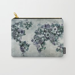 world map floral black and white Carry-All Pouch