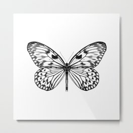 Mono Rice Paper Butterfly Metal Print