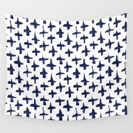 Navy Blue plus signs brush strokes seamless pattern Wall Tapestry