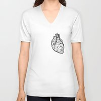 anatomical heart V-neck T-shirts featuring Anatomical Heart by Horse and Hare