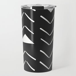 Mud Cloth Vector in Black and White Travel Mug