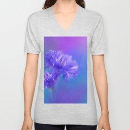 Dreamy Blue Purple Cornflowers Floral Photo Unisex V-Neck