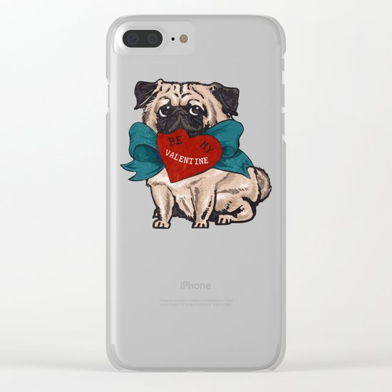 Be My Valentine Pug Clear iPhone Case