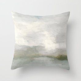Modern Abstract Painting, Light Teal, Sage Green, Gray Cloudy Weather Digital Prints Wall Art, Ocean Throw Pillow