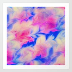 Feather Marble Pink Blue  Art Print