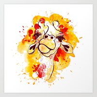 Orange watercolor and doodled Giraffe Art Print