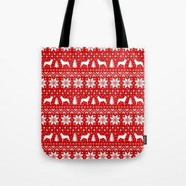 Smooth Collie Silhouettes Christmas Sweater Pattern Tote Bag