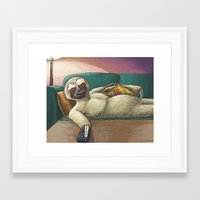 sloth Framed Art Prints featuring Sloth by Ken Coleman