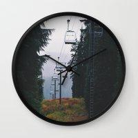 ski Wall Clocks featuring Ski Lift by Hannah Kemp