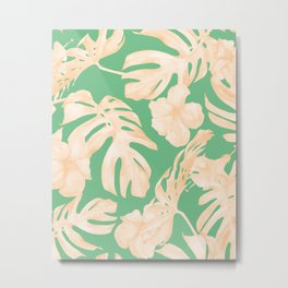 Tropical Palm Leaves Monstera and Hibiscus Jungle Green Coral Peach Metal Print