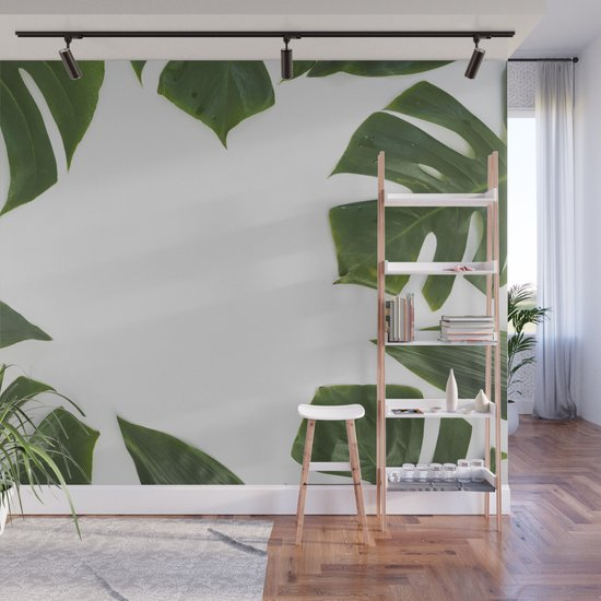 Green monstera leaves on white ink by all4you