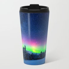 Aurora Borealis Over Wintry Mountains Metal Travel Mug