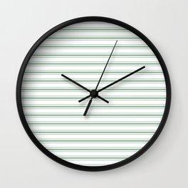 Moss Green and White Mattress Ticking Wide Striped Pattern Wall Clock