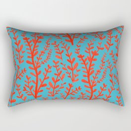 Turquoise and Red Leaves Pattern Rectangular Pillow