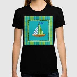 Nautical Sailboat Beach Blue Star Little Boy Plaid  T-shirt