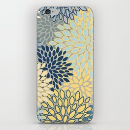 Floral Print, Yellow, Gray, Blue, Teal iPhone Skin