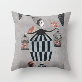 The Bird Act Throw Pillow